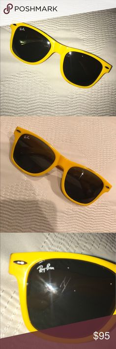 Yellow Ray-Ban Sunglasses Yellow Ray-Ban Sunglasses 🌞🕶🌻 Only worn twice and have a little scratch on the lens, which is not very noticeable. They also have a few brown marks (on the back of the sunglasses).  These marks are not really noticeable either.  Please see the pictures in the listing.  They are super cute and bright!! I just don't use them anymore:)) Ray-Ban Accessories Sunglasses