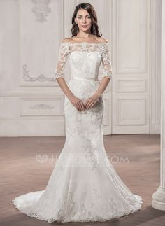 Trumpet/Mermaid Off-the-Shoulder Court Train Satin Lace Wedding Dress (002058786) - JJsHouse
