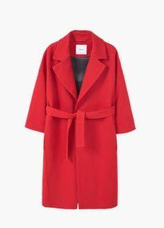 Wełniany płaszcz z paskiem