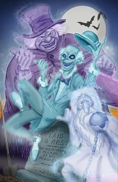 The hitchhiking ghosts: Phineas, Ezra, and Gus! Haunted Mansion Disney, Disney Halloween, Halloween Art, Halloween Stuff, Disney Magic Kingdom, Disney Fan Art, Disney Love, Walt Disney, Disney Stuff