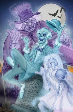 The hitchhiking ghosts: Phineas, Ezra, and Gus! Haunted Mansion Disney, Disney Magic Kingdom, Disney Halloween, Halloween Art, Halloween Stuff, Disney Fan Art, Disney Love, Disney Stuff, Creepy Houses