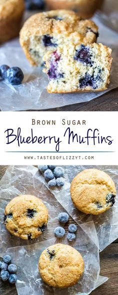 From scratch brown sugar blueberry muffins kept extra moist with brown sugar. Perfectly light and fluffy with a deep, sweet flavor. Brown Sugar Blueberry Muffins {Easy Muffin Mix Recipe} via Muffin Recipes, Breakfast Recipes, Dessert Recipes, Breakfast Cookies, Breakfast Club, Drink Recipes, Homemade Blueberry Muffins, Blueberry Recipes, Delicious Desserts