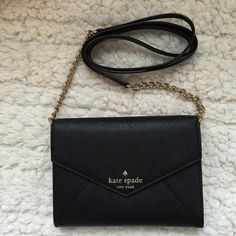 """NWT♠️Kate Spade Cedar Street Monday - Black 5"""" x 6.5""""  -  cross hatched leather with matching trim  -  14-karat gold plated hardware  -  custom woven caroleena spade dot lining  -  3 credit card slots  -  removable strap  -  dust bag included kate spade Bags Crossbody Bags"""