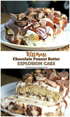 Ultimate Chocolate Peanut Butter Explosion Cake via @https://www.pinterest.com/BaknChocolaTess/
