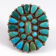 """Vintage (1970s) Sterling Silver Ring set with Natural Blue Gem Turquoise from Nevada. Ring Size: 8 1.25"""" Width, 1.5"""" Height .25"""" Band Width"""