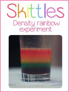 Water density experiment with skittles