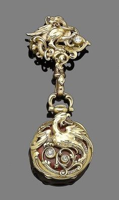 An enamel and diamond-set fob watch,