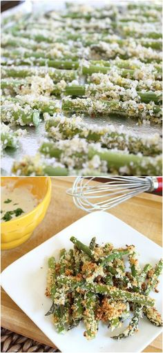Lemon Dijon Crusted Asparagus Fries. Satisfy that fry craving with these crispy asparagus fries served with a lemon dijon dip!