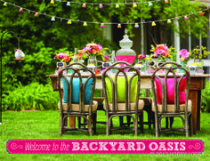 Invite guests into a backyard oasis, with bright colors, beautiful floral arrangements and festive lights!