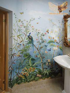 Роспись стен в туалете / Студия Аромат цвета - Художественная роспись стен и потолков. Цены в Москве. 12 лет опыта, более 600 работ в портфолио.
