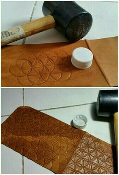 You don't always have to buy expensive tools.Use a bottle cap to create a unique designLeather bottlecap pattern in leatherlaser cut a die and hammer it on to the leather?interesting way to create texture Leather Stamps, Leather Art, Sewing Leather, Leather Gifts, Leather Bags Handmade, Leather Design, Handmade Bags, Leather Jewelry, Leather Purse Diy