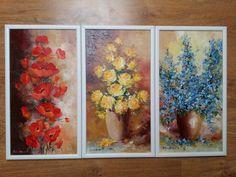 """""""Roșu, galben și albastru"""" ... vă sună cunoscut, sunt sigur 😊 Flori, triptic, drapel, cadou pentru casă nouă, e orice se dorește a fi. Pentru noi, este un proiect reușit, cu un client mulțumit. Tablourile au dimensiunea de 30 cm x 50 cm, fiecare. Triptic, Orice, Painting, Art, Art Background, Painting Art, Kunst, Paintings, Performing Arts"""