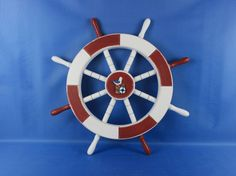"""Red and White Decorative Ship Wheel with Seagull and Lifering 18"""""""
