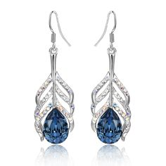 Boucles d'oreilles Plume de Paon en Cristal Swarovski Elements Bleu et Plaqué Rhodium - Boucles d'Oreilles Swarovski Elements - Blue Pearls
