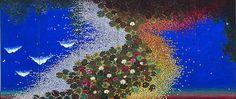 Hiramatsu Reiji, Quartet de couleurs – Nymphéas, 2011 Nihonga, paravent a six panneaux, 180 x 420 cm