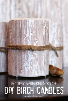 DIY Birch Candles - learn to create your own faux birch candles in just minutes at anightowlblog.com | #potterybarn #knockoff…