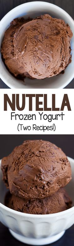 Nutella Frozen Yogurt – Ingredients: 2 cups plain yogurt, cup cocoa powder, tsp pure vanilla extract, cup. Frozen Yogurt Recipes, Frozen Yoghurt, Frozen Desserts, Frozen Treats, Just Desserts, Delicious Desserts, Dessert Recipes, Yummy Food, Greek Yogurt