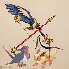 Pokemon Weapons Swellow and Flareon Mega Pokemon, Pokemon Memes, Pokemon Fusion, Cute Pokemon, Pokemon Cards, Anime Weapons, Fantasy Weapons, Pokemon Eeveelutions, Concept Weapons