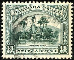 "Trinidad & Tobago 1935 Scott 41 48¢ slate green ""Memorial Park"""