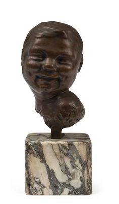"""CARL GELLES (Austria. 1880-1930), Head, bronze and marble, signed """"Carl Gelles"""", 33cm high overall / MAD on Collections - Browse and find over 10,000 categories of collectables from around the world - antiques, stamps, coins, memorabilia, art, bottles, jewellery, furniture, medals, toys and more at madoncollections.com. Free to view - Free to Register - Visit today. #Bronze #DecorativeArts #MADonCollections #MADonC"""