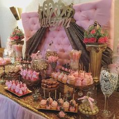 What a glamourous pink princess baby shower to welcome Baby Raelyn!!! See more party ideas at CatchMyParty.com