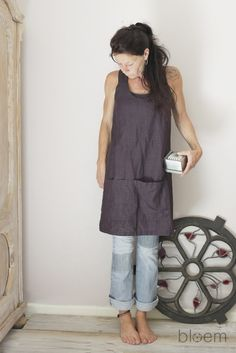 Image of Linen Pinafore apron in Plum, Cross back apron