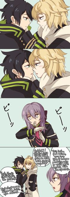 "Owari no Seraph | Yuu x Mika ~ ""No one's going to think we're straight anyway."" XD"