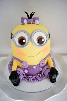 Girly Minion Cake - 3D Sculpted Cakes   Kyrsten's Sweet Designs