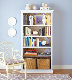 Make your bookcase better than ever! These amazing inspiration ideas will make you want to revamp your own bookshelf right away. Line the back of shelves with wallpaper, paint your bookcase a pretty color, create a space for well-organized storage, and more! Plus, check out our ideas for armoires.