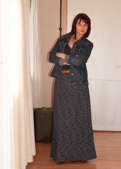 Kelso Denim Jacket with Fergalicious Tan Knee High Boots and a maxi skirt.