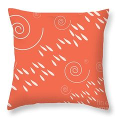 Rain And Wind In Striped Pattern  Blood Orange Throw Pillow by Irene Irene