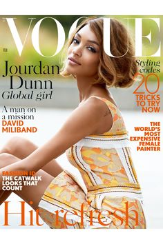 BRITISH model Jourdan Dunn basks in spring sunlight on the cover of February's Vogue, out this Friday. Wearing a pale yellow and orange Prada dress and her short bobbed hair in soft curls, Dunn was photographed by Patrick Demarchelier and styled by Vogue' Vogue Covers, Vogue Magazine Covers, Fashion Magazine Cover, Fashion Cover, Star Fashion, Love Fashion, Fashion Models, Fashion Tape, Fashion 2015