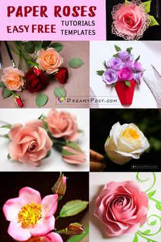 This is the collection of different ways to make paper roses, with free templates and step by step tutorials that you could easily DIY roses. Crepe Paper Roses, Easy Paper Flowers, Giant Paper Flowers, Fabric Flowers, Origami Flowers, Diy Flowers, Paper Roses Tutorial, Rose Tutorial, Free Paper Flower Templates