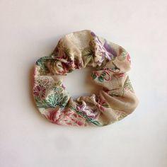 Japanese fabric scrunchie, japanese pattern gauze,  beige flower on Etsy, ¥159.57