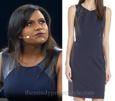 Mindy wore this navy leather inset dress to speak at Connections 2014 in Indianapolis. It's 70% off. I thought I'd just point that out. /// Halston Heritage Faux-Leather Panel Dress - $193 (was $645)