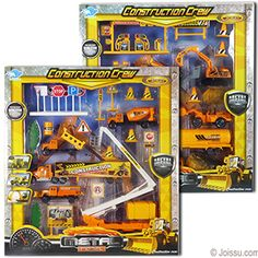 17 PIECE CONSTRUCTION CREW PLAY SETS. These complete play sets include 5 trucks and all the toy construction equipment that a junior hard hat could ever want. Each play set window boxed. Sizes 1 - 7.5 Inches, packaging 14 X 12.5 X 2 Inches