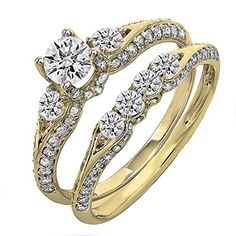1.45 Carat (ctw) 18K Yellow Gold Round Diamond 3 Stone Br...