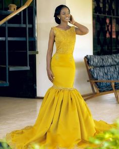 yellow mermaid Lace Prom Dress Evening Gowns vp7488 by VestidosProm, $146.96 USD