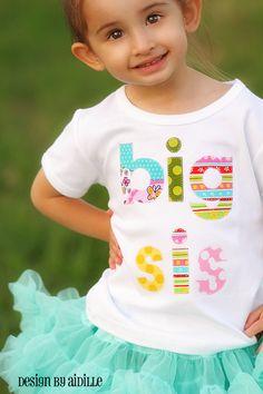 One day! LONG SLEEVED Big Sister Shirt Big Sis Made to Order. $29.50, via Etsy.