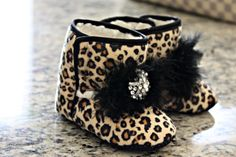 Boutique Leopard Baby Girl Booties Baby Infant by FancyFaceCouture, $19.99