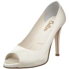 Bridal by Butter Women's Cleo-B Peep-Toe Pump Shoe Boots, Shoes Heels, Pump Shoes, Wow Deals, Satin Shoes, Peep Toe Pumps, Stiletto Pumps, White Pumps, Shoe Collection