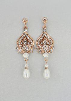 Rose Gold Bridal Earrings Wedding By CrystalAvenues