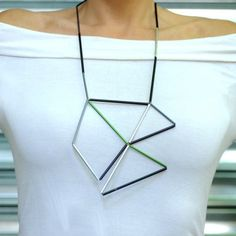 Aluminum and Leather Prism Necklace by Metalnat Photo
