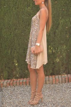 Beige short glossy dress, heels, and purse. Street summer women fashion outfit clothing style apparel @roressclothes closet ideas