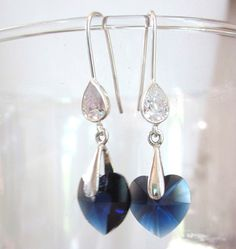 Swarovski Crystal Earrings - Dangle Earrings in Indigo Blue Crystal, Perfect for a Wedding, Bridal, Bridesmaid, Prom, Formal, Elegant