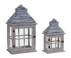 Set de 2 faroles de madera y metal Rustic - gris