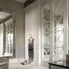 Mirrored wardrobe doors - English wardrobe Company - maybe bit fancy Mirrored Wardrobe Doors, Mirror Closet Doors, Built In Wardrobe, Mirror Door, Wardrobe Design, Mirrored Bifold Closet Doors, Sliding Doors, Floor Mirror, Grey Grasscloth Wallpaper