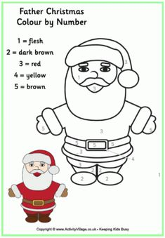 find this pin and more on kids color by numberalphabet - Santa Claus Color Pages 2