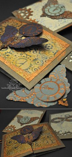 Steampunk Birthday Party Invitations - Handmade by Meda