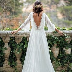 Cheap Wedding Dresses A-line Simple Ivory Appliques Chiffon Bridal Gown backless wedding dress mermaid open backs lace button wedding dresses with long sleeves White Beach Wedding Dresses, Long Gown For Wedding, Ivory Lace Wedding Dress, Backless Wedding, Wedding Dresses Plus Size, Cheap Wedding Dress, Wedding Party Dresses, Bridal Dresses, Hippie Wedding Dresses